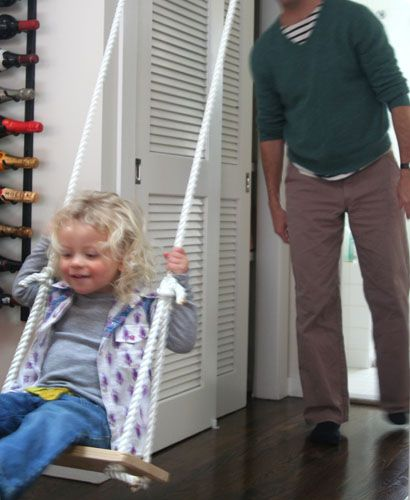 DIY indoor swing for the wintertime.