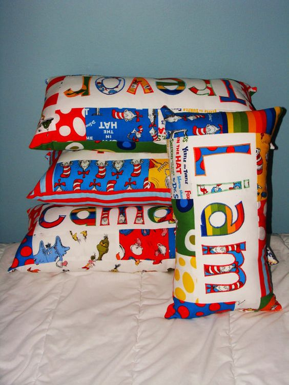 Dr Seuss/ Cat in the Hat Custom Name Pillow by NamelyPillows, $35.00