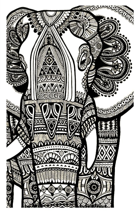 Free Coloring Page Coloriage Elephant Gratuit Adulte
