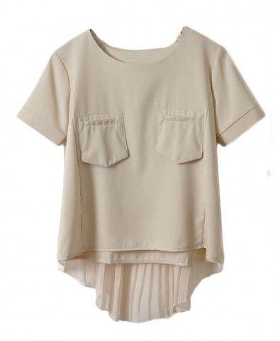 Pleat Nude Chiffon T-shirt in Fake Twin Set