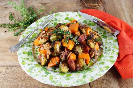 Roasted Brussels Sprouts and Butternut Squash with Fresh Thyme Roasted Garlic Vinaigrette @patty's food