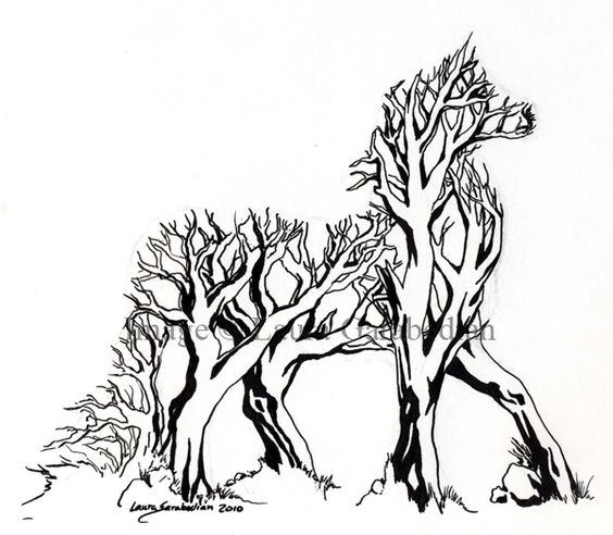 pen and ink horse and tree - Google Search
