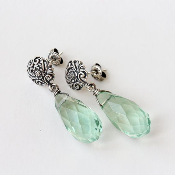 Light Green Fluorite Drop and Bali Sterling Silver by TheGoosle