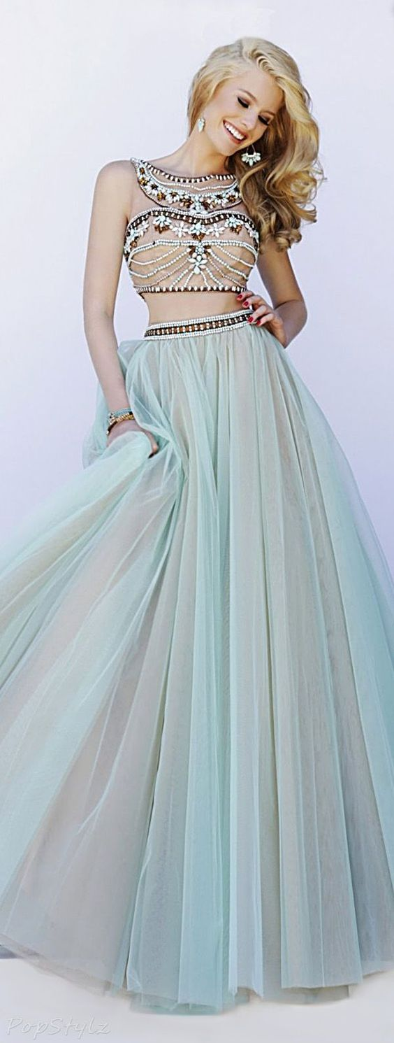 Sherri Hill Lovely Long Flowing Mint Evening Gown