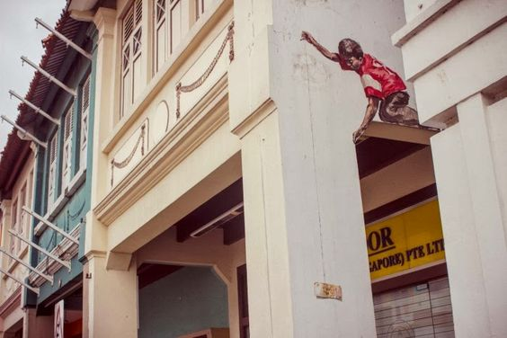 Street art in Singapore by Ernest Zacharevic #ernestzacharevic #streetart #urbanart #art #singapore
