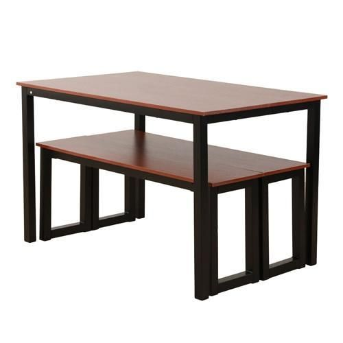 Raul Three Piece Bench Dining Table Set Wood Dining Table