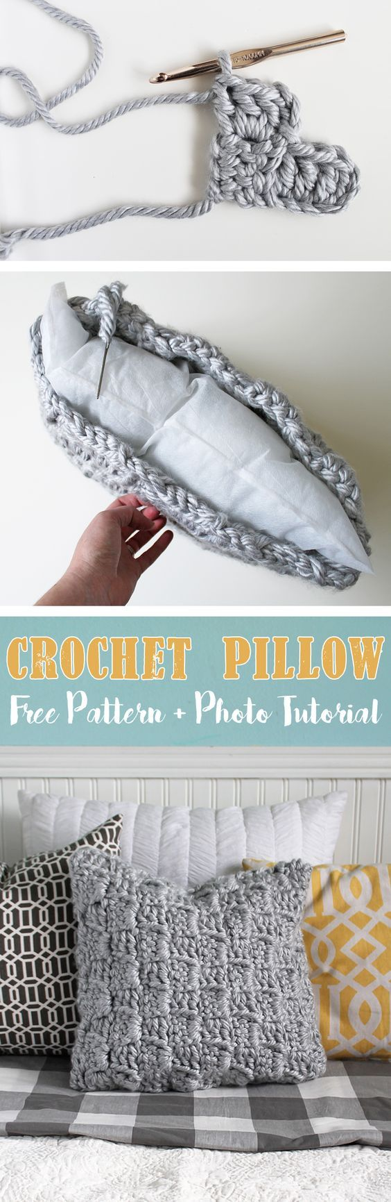 Make this cool chunky textured crochet pillow following a step-by-step photo tutorial. Free crochet pattern!: