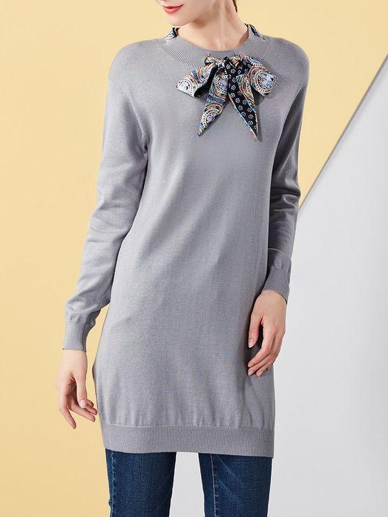 #AdoreWe #OOTD I BELIEVE YOU Gray H-line Long Sleeve Sweater Dress - AdoreWe.com