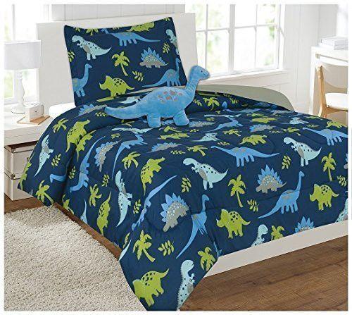 Elegant Home Multicolor Dark Blue Green Dinosaurs Jurassic Park Design 6 Piece Comforter Bedding Set For Boys Kids Bed In A Bag With Sheet Set Decorative Toy Comforter Sets Blue