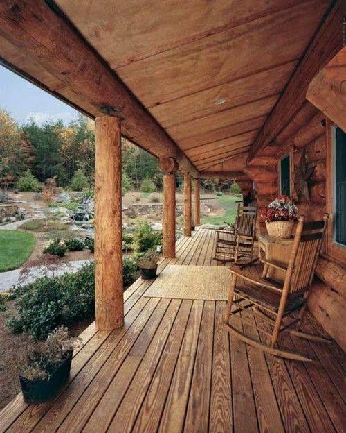 Beautiful & large rustic cabin porch