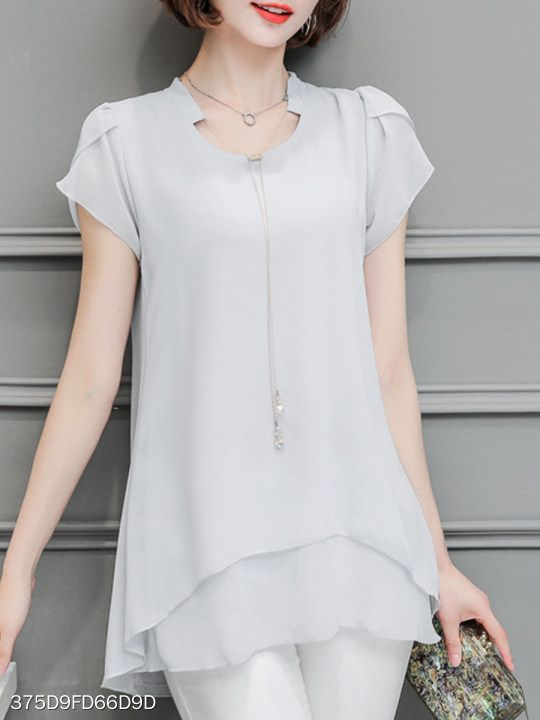 Toponly Plain Blouse For Womens Chiffon Solid T-Shirt Office Ladies Short Sleeve Tops