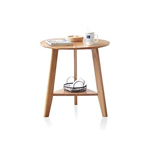 Xbbz Solid Wood Side Table White Oak Round Table Nordic Minimalist Small Coffee Table Size 60 60 65 Solid Wood Side Table Coffee Table Size Small Coffee Table