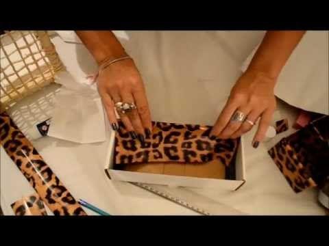 Forrar caixa de cartão para maquilhagem