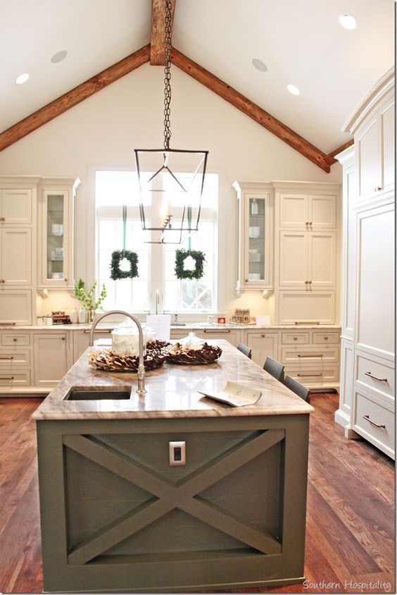 Cabinets the end and islands on pinterest for Adding beams to ceiling