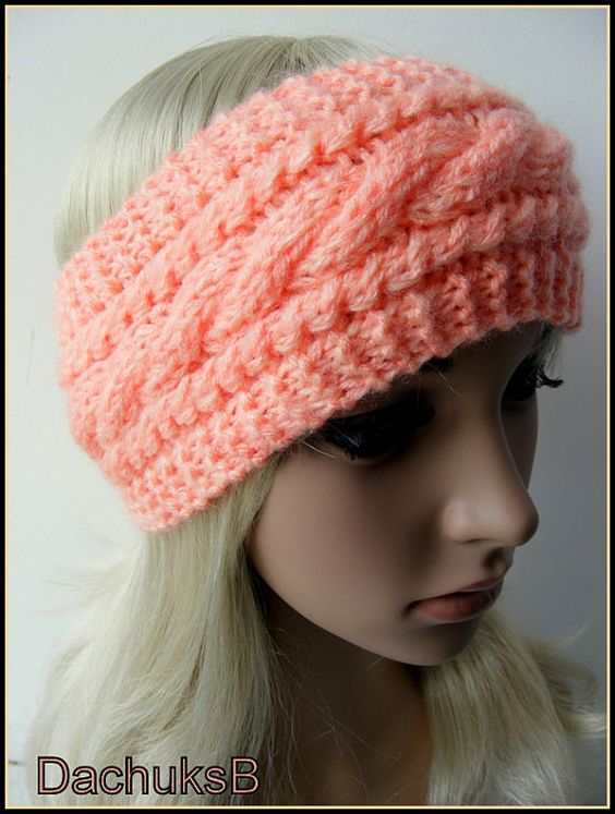 Knitting Pattern Headband Ear Warmer : Hand Knitted Headband Ear Warmer In Peach Color Cable ...