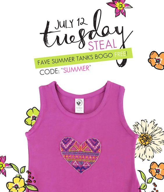 Girls fun summer tops at limeapple.com BOGO June 12, 2016 only
