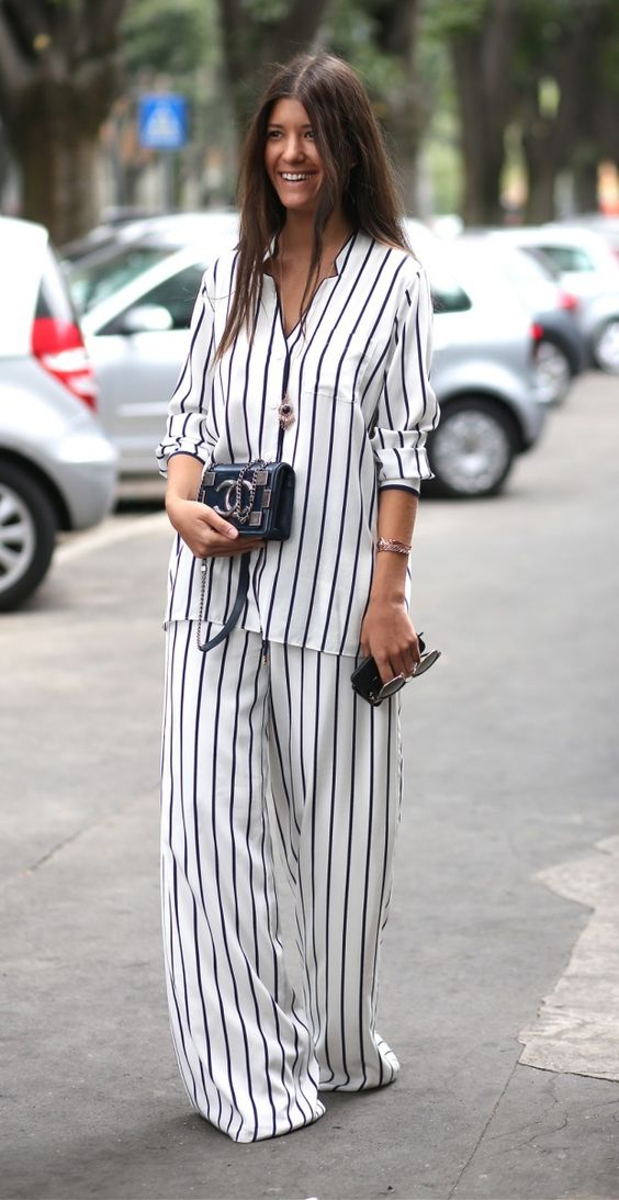 Street Style: Classic black and white with a wide legged bottom: