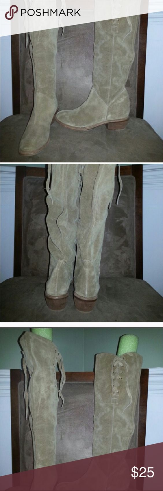 BX for Bronx Knee High Boots Beige knee high, cowboy style boots. Lace (for show) at the top portion of boot. Suede upper that slouches and wood sole. Worn only twice. BX for Bronx Shoes Over the Knee Boots