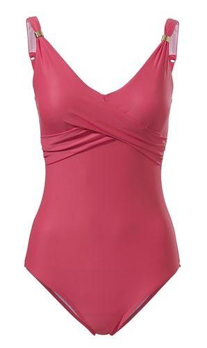 #Heine #Damen #Bauch-weg-Badeanzug #pink - Modische Wickeloptik. Formende Softcups. Power-Mesh-Futter im Vorderteil. Verstellbare Träger.