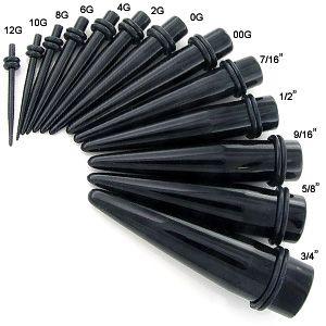 Pair Black Acrylic Tapers & Pair Steel Screw Tunnel Plugs Ear ...