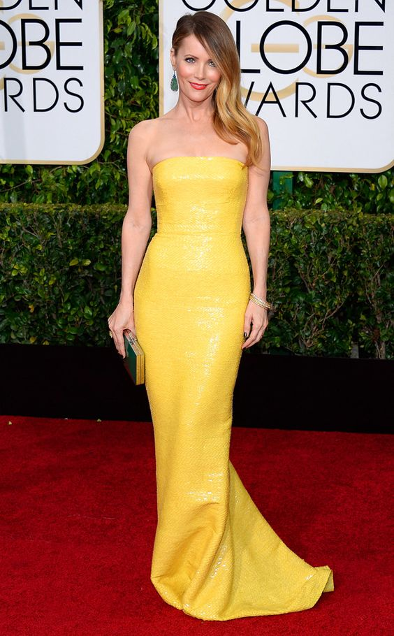 Leslie Mann In Kaufmanfranco from 2015 Golden Globes Red Carpet Arrivals | E! Online