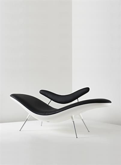 peter harvey prototype smile chaise longue 2003 lacquered wood leather chrome plated. Black Bedroom Furniture Sets. Home Design Ideas