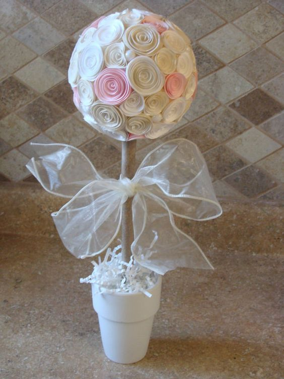 Off white and pink paper rose flower topiary for