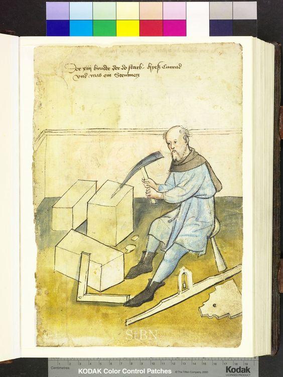 1425, pickaxe, plumb level, template  Die Hausbücher der Nürnberger Zwölfbrüderstiftungen
