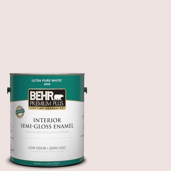 BEHR Premium Plus 1-gal. #icc-33 Soft Feather Zero VOC Semi-Gloss Enamel Interior Paint