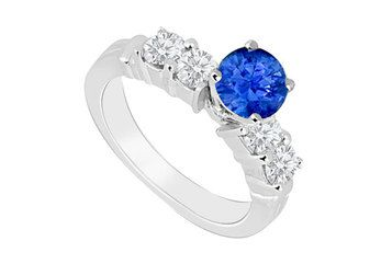 14K White Gold  Sapphire and Diamond Engagement Ring 0.90 CT TGW