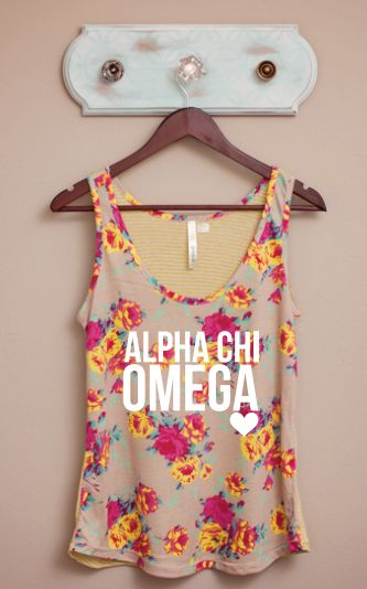 Future little. We are getting this. Alpha Chi Omega floral tanktop
