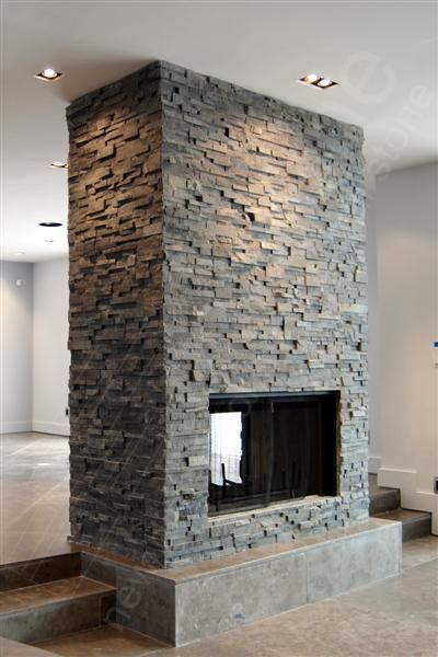 Rock Panels - Stacked Stone veneer wall cladding for interior for Natural Stacked Stone #stone #light #fireplace