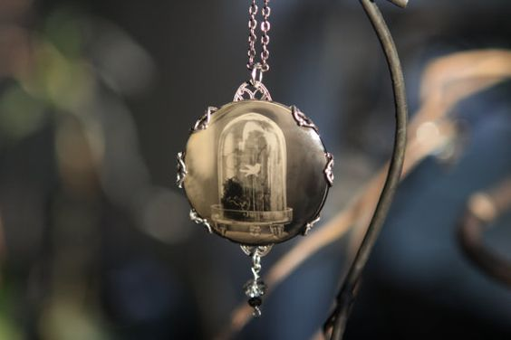 """Photo Pendant """"White Bird and Glass"""", Wet Plate Collodion Ambrotype on curved clear Glass with Sterling Silver Plated Filigree Setting"""