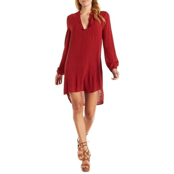Charlotte Russe Rust Notched Neck Shift Dress by Charlotte Russe at... ($29) ❤ liked on Polyvore featuring dresses, rust, sun dresses, short red dress, sundress dresses, red dress and red ruched dress