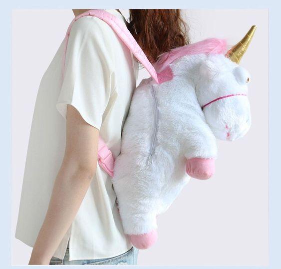 Plush Unicorn Backpack 90s fashion