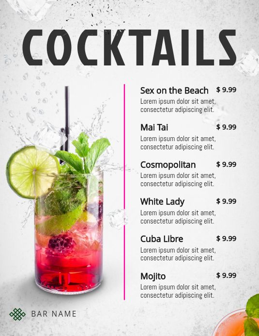 Refreshing Cocktails Menu Template Cocktail Menu Menu Design Template Food Menu Template