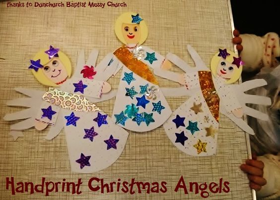 handprint Christmas angel craft - cut out from white card stock, decorate with star stickers and google eyes (thanks to Dunchurch Baptist Messy Church)