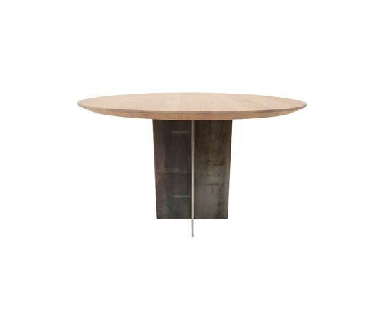 Runder Tisch Rivolta in Eiche weiß geölt und Kreuzuß aus Rohstahl - runder küchentisch weiß