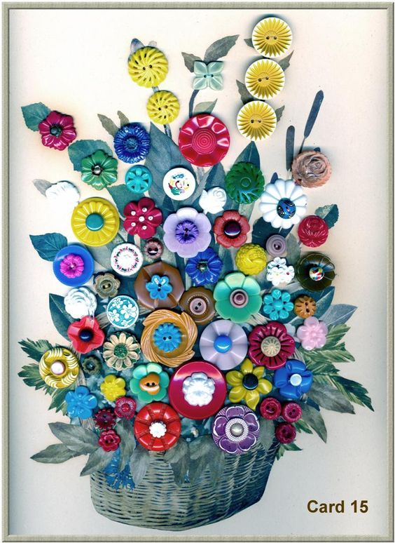 ~ Button Floral Basket ~ by Paul Rice....