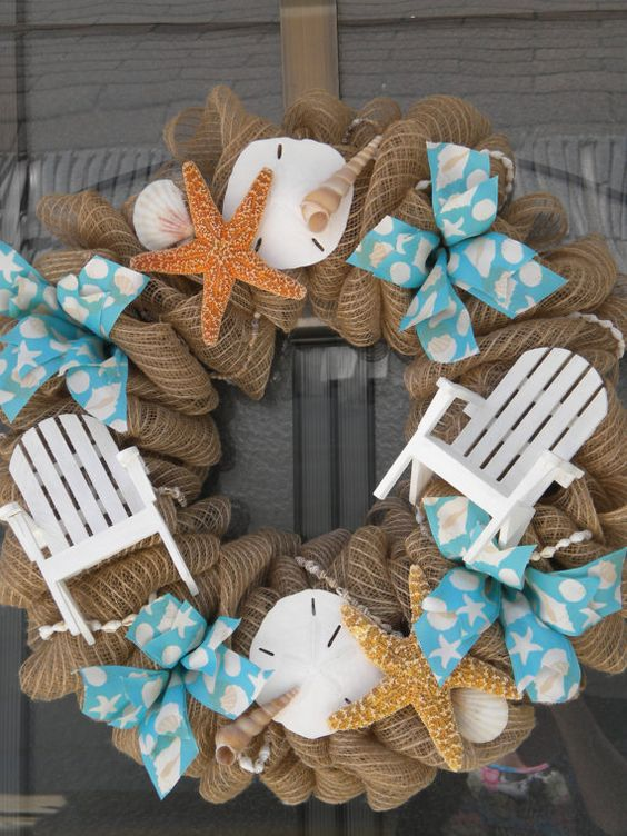 brown burlap and natural starfish sand dollar seashell and beach chair deco mesh wreath. Black Bedroom Furniture Sets. Home Design Ideas