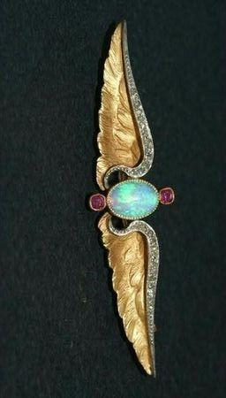 Platinum gold brooch, opal diamond rose cut. Art Nouveau #opalsaustralia