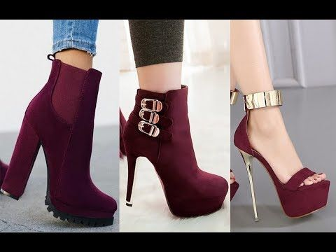 احدت موديلات أحذية كعب عالي أحذية أنيقة ورائعة موضة الاحمر الداكن 2019 Youtube Heels Boots Shoes