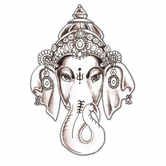 Hindu Hindu Elephant God God Ganesha Tattoo Design