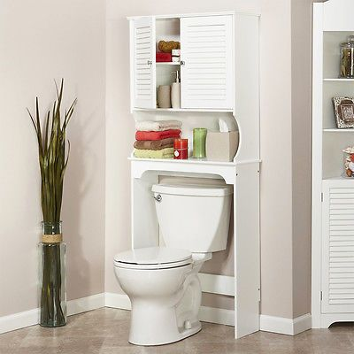 white tall space saving toilet cabinet fit over toilet bathroom storage cupboard in home furniture