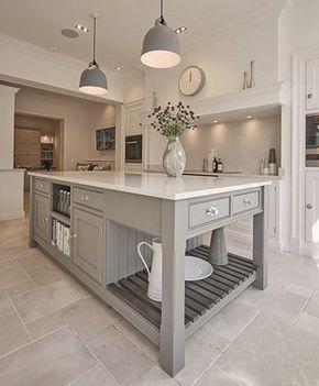White Kitchen Cabinets And Grey Island Design Ideas  Kitchens Gorgeous Kitchen Islands 2018