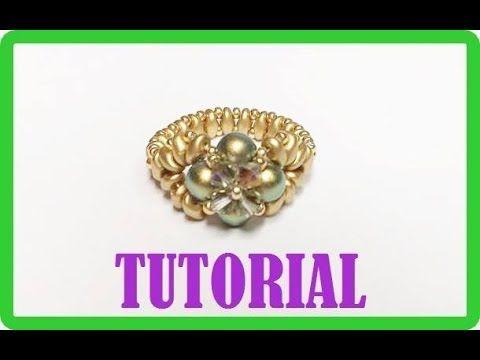 Tutorial, come fare un anello con perline. Anello Iridescenze Decò - YouTube