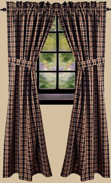 Penneyhill Plaid Black Curtain Panels 72