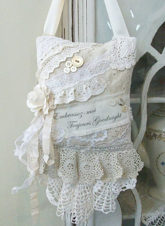 Lavender Sachet French Shabby Chic Always Kiss Me by PinkPaperRose: