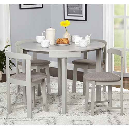 5 Piece Compact Round Dining Set Home Living Room Furniture Greygrey Linen 0 0 Dining Room Small Dining Room Sets Round Dining Set