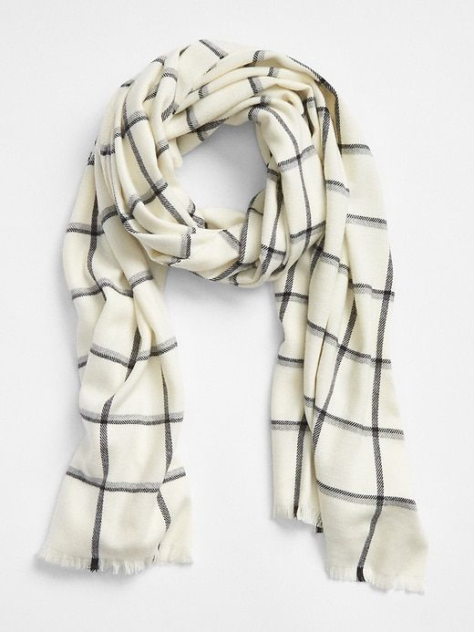 Ivory New Large Handmade Fashion Scarf Shawl Wrap w// Plaids